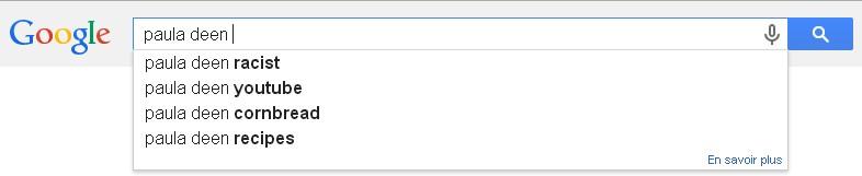 Paula Deen racist recherche associée google