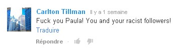 Paula Deen commentaire Youtube