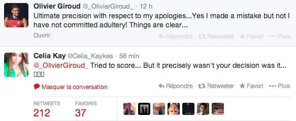 Le tweet de Celia Kay en réponse à Olivier Giroud