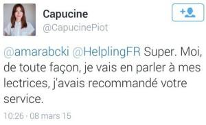 Troisième tweet de Capucine Piot à Helpling