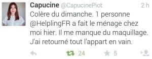 Premier tweet de Capucine Piot à Helpling